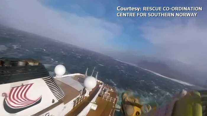 Rescue worker's helmet camera captures dramatic cruise ship rescue