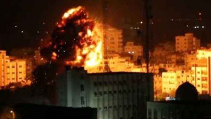 Israel strikes light up Gaza skyline