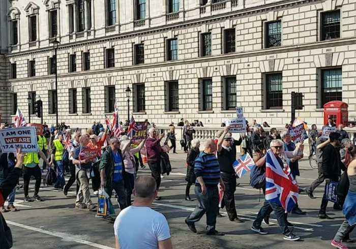 Pro-Brexit Demonstrators March Through London as Parliament Rejects Withdrawal Agreement