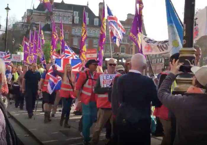 'March to Leave' Protesters Sing Outside UK Parliament