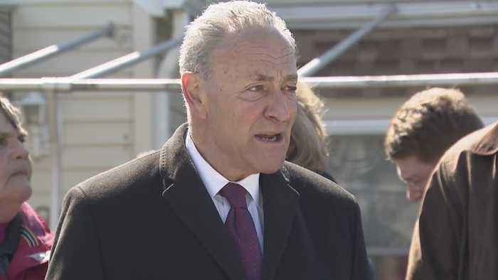 Sen. Charles Schumer News Conference On Flood Insurance