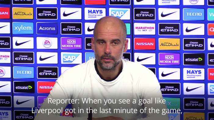 Pep Guardiola reacts to Liverpool's late winner against Spurs