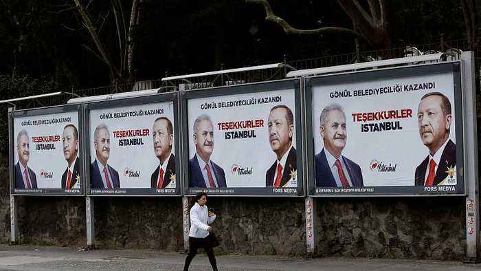 Watch: Tensions high in Istanbul as Erdogan's AK Party contest election results