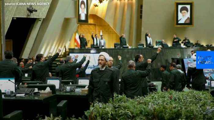 Watch: Iran's lawmakers wear Revolutionary Guards' uniforms to Parliament