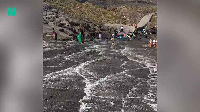 Plastic Waste Piles Up On Tenerife Beach