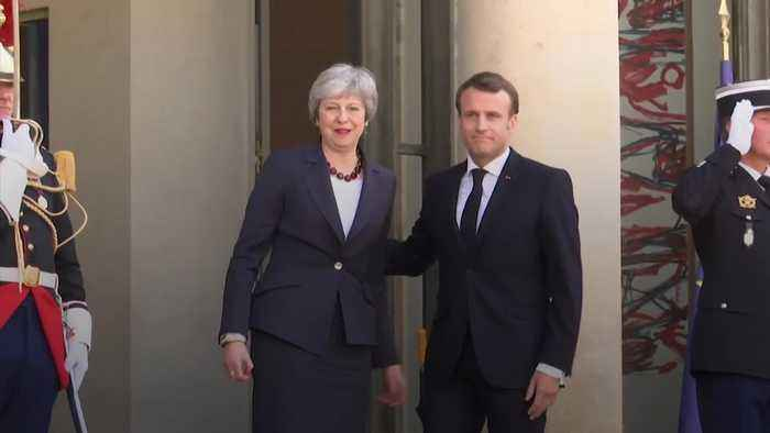 Theresa May visits Paris for Brexit talks with Emmanuel Macron