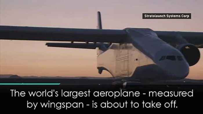 Watch 'the world's largest plane' jet off for maiden flight
