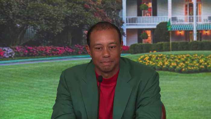 Tiger Woods celebrates Masters victory