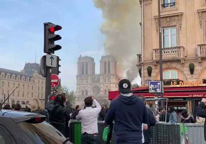Smoke and Flames Rise From Notre Dame Cathedral