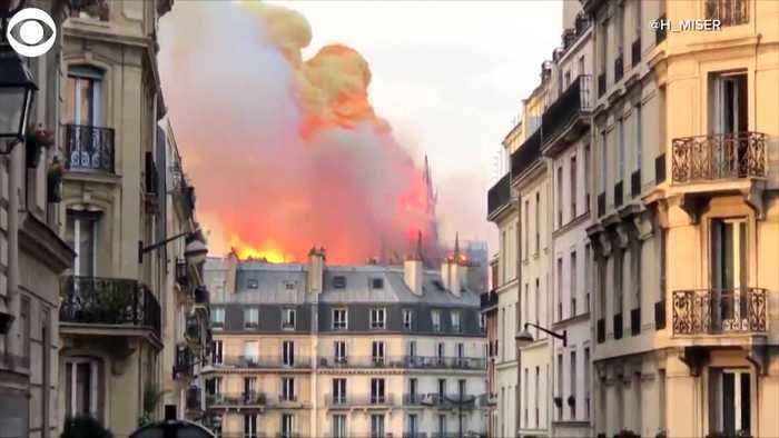 WEB EXTRA: Spire Falls From Notre Dame Cathedral