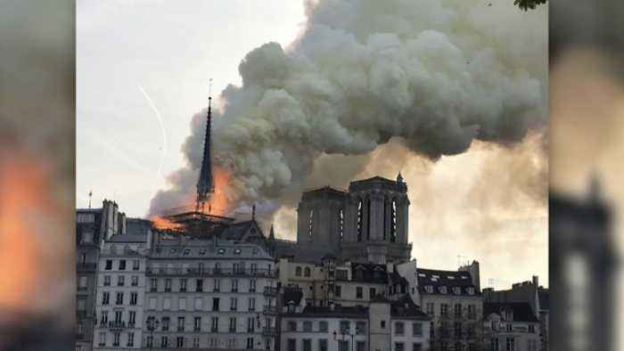 Famous Notre Dame Cathedral In Paris Is On Fire