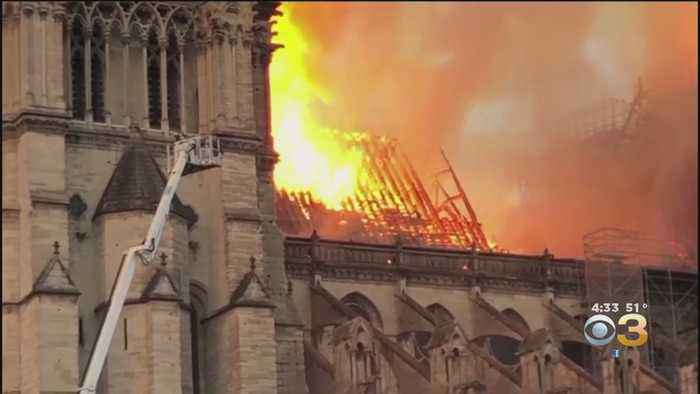 Flames Engulf Notre Dame Cathedral, Spire Atop Historic Building Collapses