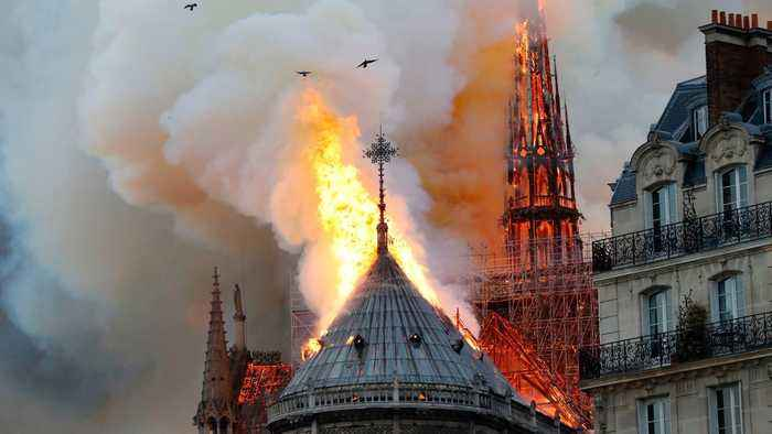 While Notre Dame fire continues, firefighters have saved cathedral's towers