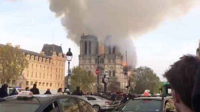 Shocking Footage Shows Moment Notre Dame Cathedral Spire Collapses As Huge Fire Rips Through Building