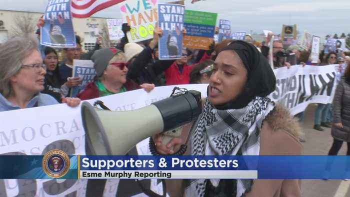 Omar Supporters Hold Rally Outside Trump Event In MN