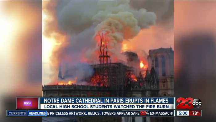 Local teens in Paris and witness Notre Dame burning