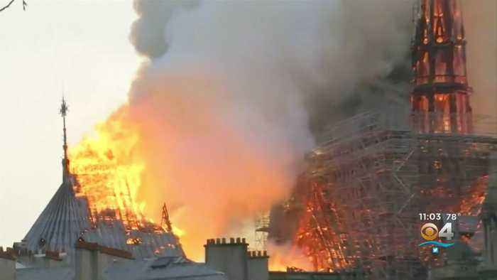Fire Under Control But Flames Continue Burning At Notre Dame Cathedral In Paris