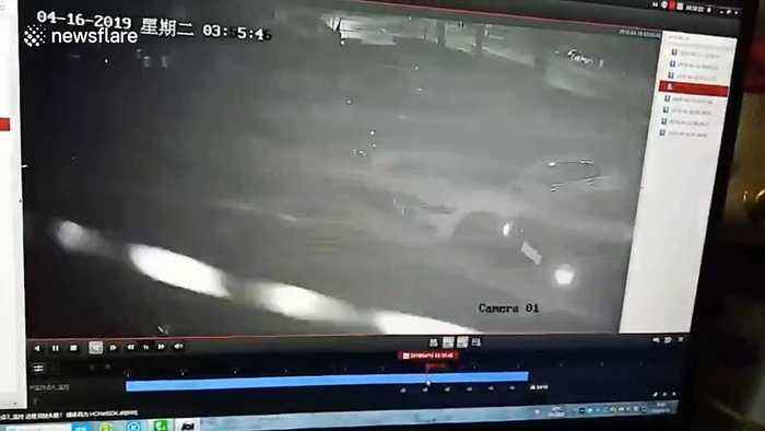 Alleged drunk driver hits and flips car over a row of parked vehicles in China
