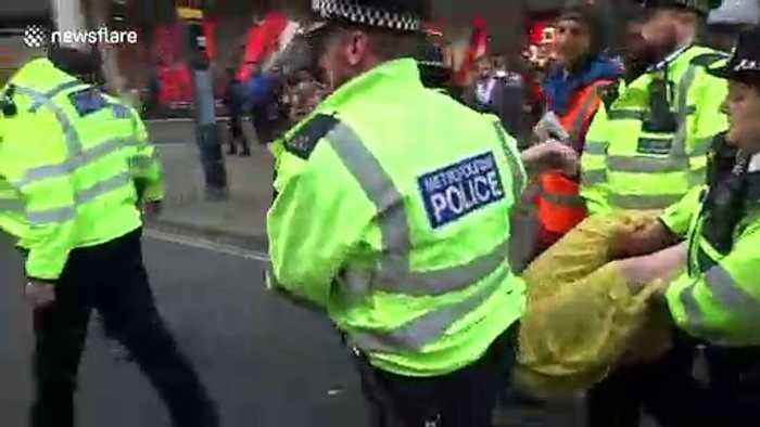 UK police arrest climate change protesters in Oxford Circus, London