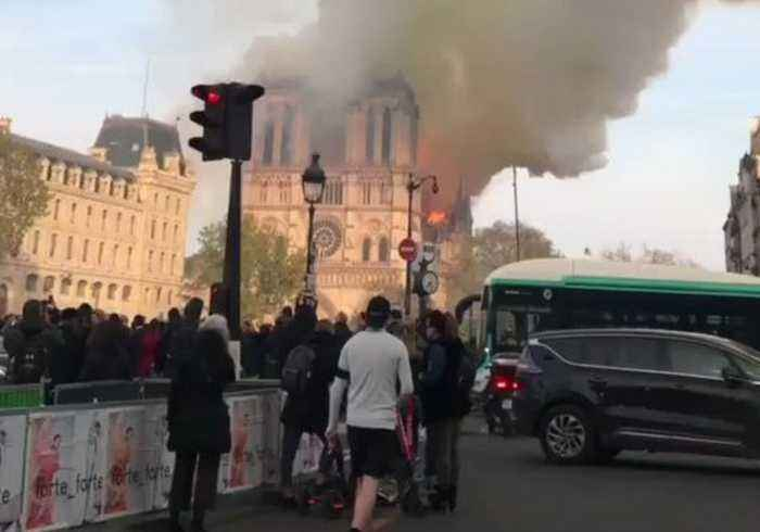Giant Smoke Plumes Flow From Burning Notre Dame Cathedral