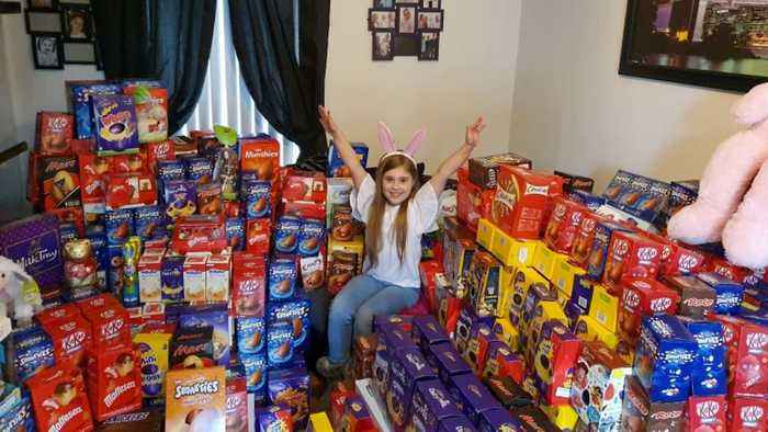 Incredible Viral Snaps Show Selfless Schoolgirl, Nine, Surrounded By More Than 650 Easter Eggs She Collected For Sick Kids