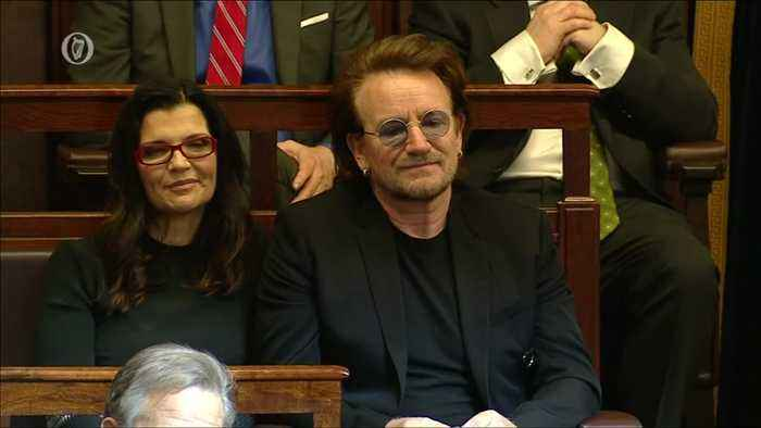Pelosi talks Brexit, plugs Bono in Irish parliament speech
