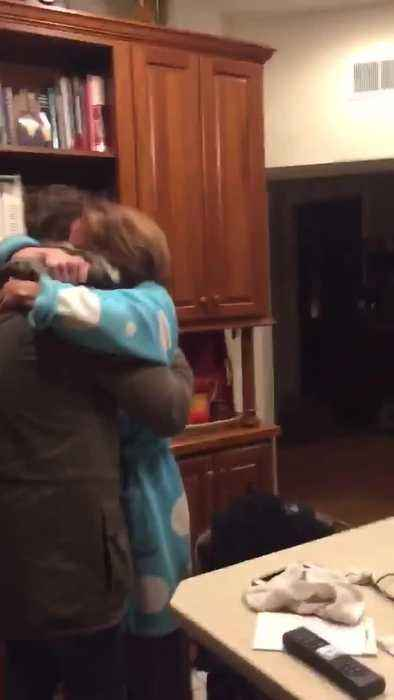 Mom Gets Emotional at Son's Surprise Christmas Visit