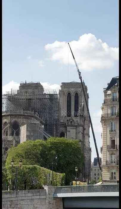 Cranes remove artifacts from burnt wreck of Notre Dame