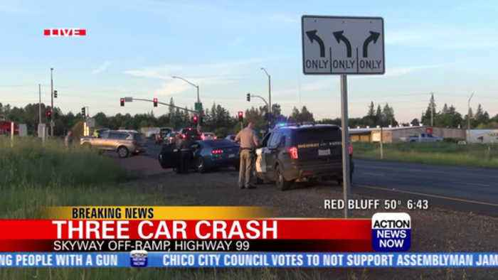 Two injured in three-car crash off Highway 99 in Chico
