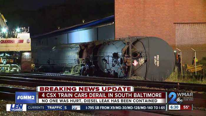 Four CSX train cars derailed late Sunday night; no injuries reported
