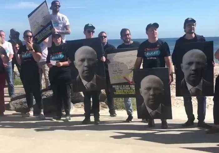 Protesters Greet Morrison at Seacliff Campaign Stop