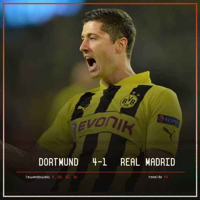 On this day in 2013, Robert Lewandowski scored four against Real Madrid in the Champions League semi-final first leg