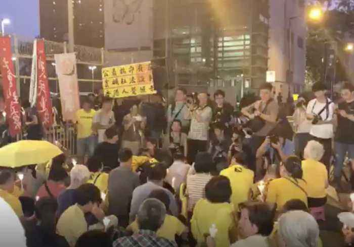 Supporters of Sentenced Umbrella Movement Leaders Gather Outside Detention Centre