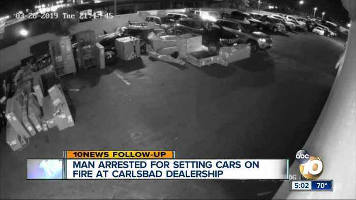 Man arrested for setting cars on fire at Carlsbad dealership