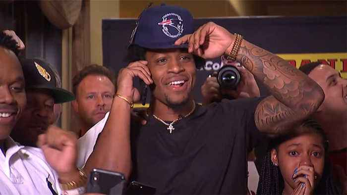N'Keal Harry gets the draft call from New England Patriots head coach Bill Belichick