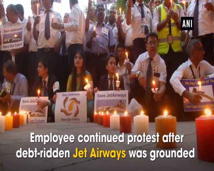 Jet Airways Crisis Employees and their families hold candle light protest at Jantar Mantar