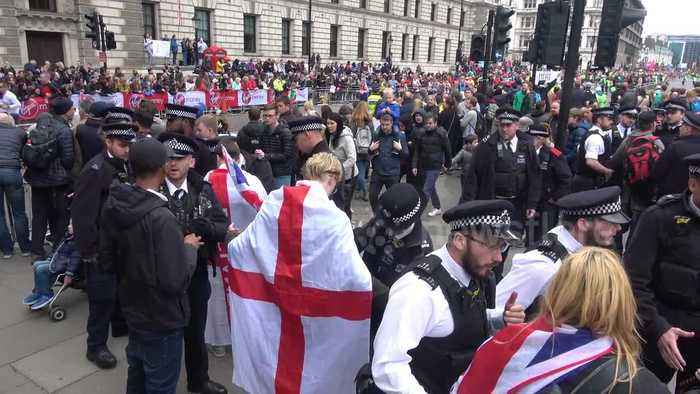 Police stop and search pro-Brexit protesters at London Marathon