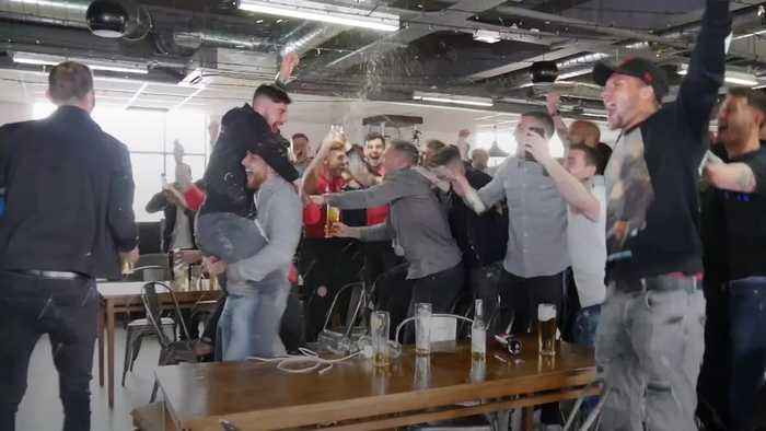 Sheffield United players celebrate promotion to the Premier League