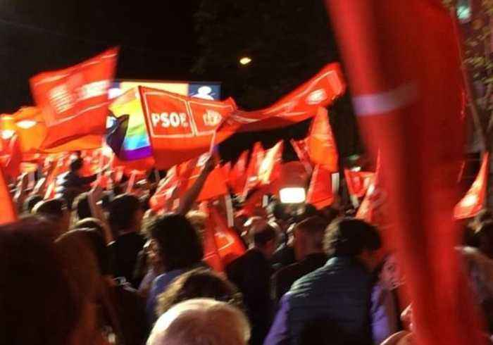 Spanish socialists celebrate election results in Madrid