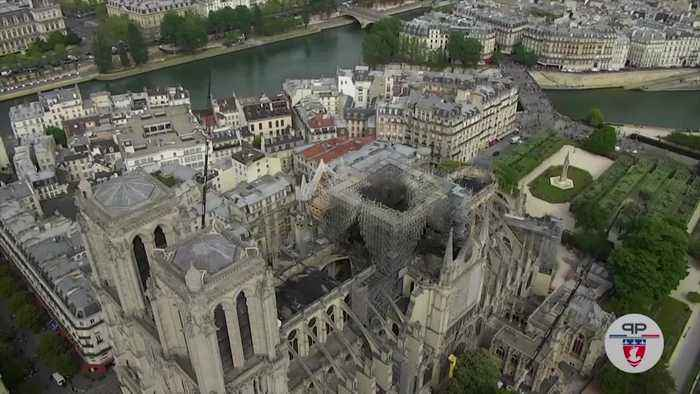 Notre Dame: Drone footage shows fire damage
