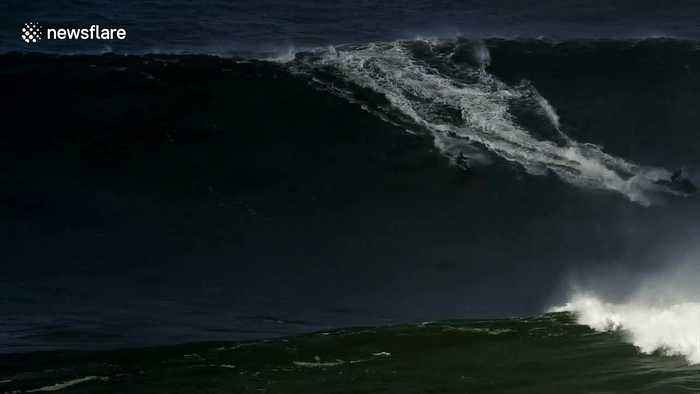 German surfer rides monster wave in Nazaré setting up the race for a new world record