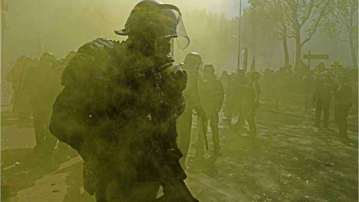 French Police Fire Tear Gas As Protesters March Toward EU Parliament In Strasbourg