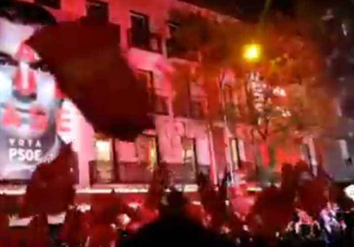 Socialists Celebrate Election Result Outside Party's Madrid HQ