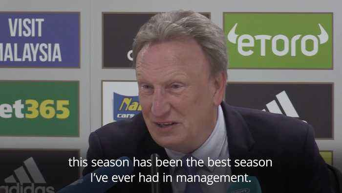 Neil Warnock reacts to Cardiff City's relegation
