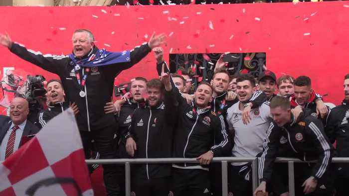 Sheffield United celebrate promotion with party in the city centre