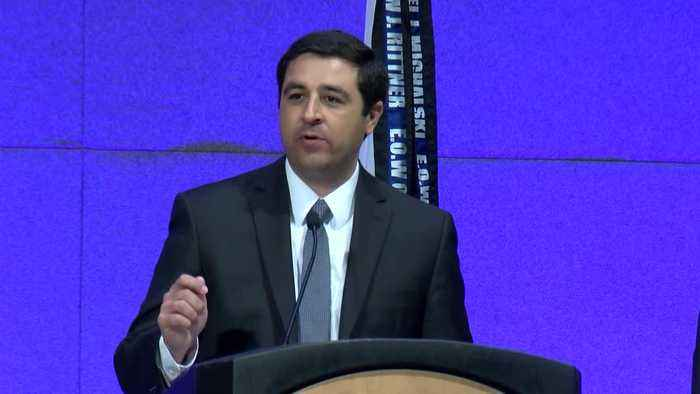 Attorney General Josh Kaul speaks at Greater Milwaukee Law Enforcement Memorial ceremony