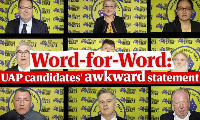 Clive Palmer's candidates filmed making the same awkward election statement – video