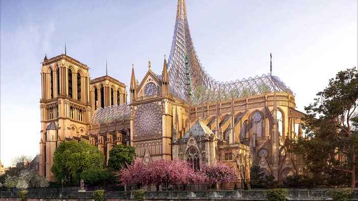 Design For Rebuild Of Notre-Dame Cathedral Unveiled - no captions