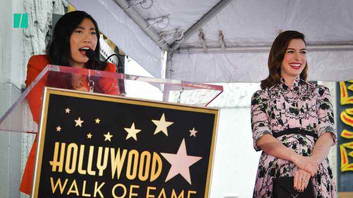 Awkwafina Honors Anne Hathaway On Hollywood Walk Of Fame