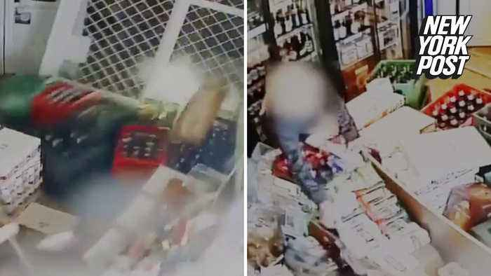 Thirsty woman barrels into liquor store with her car